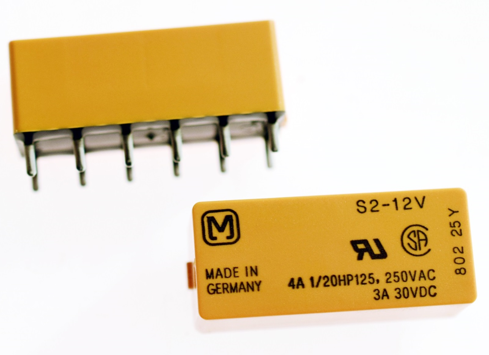 4A 12Vdc DPDT 2-poliger Wechsler #715876 Panasonic S2-DC12V Signal//Print Relais